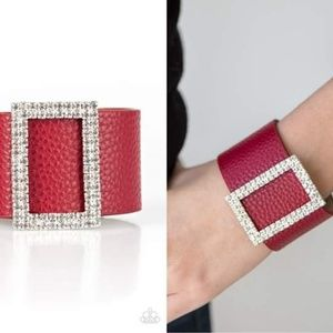 Blinged-out Leather Bracelet - Fashion Accessories
